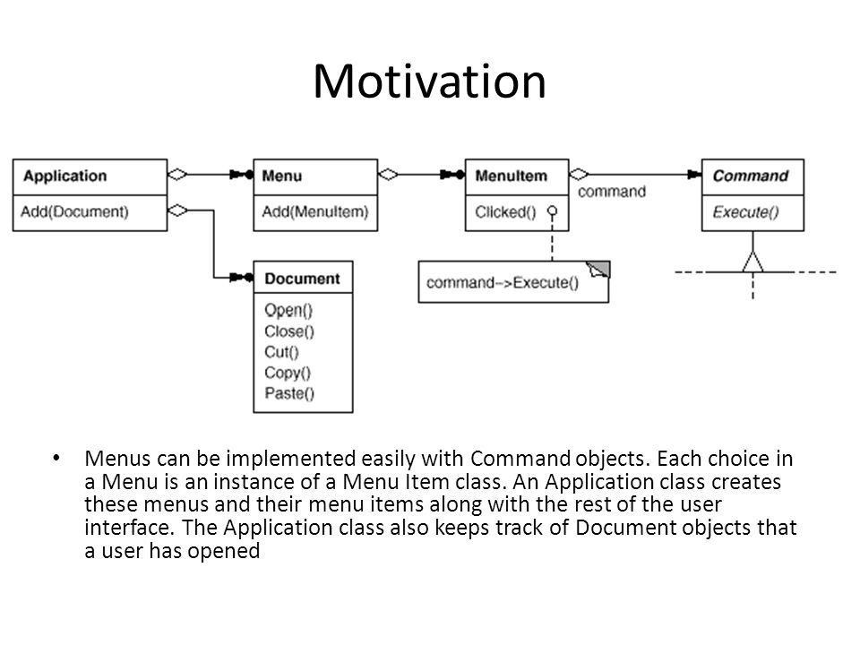 Motivation Menus can be implemented easily with Command objects. Each choice in a Menu is an instance of a Menu Item class. An Application class creat