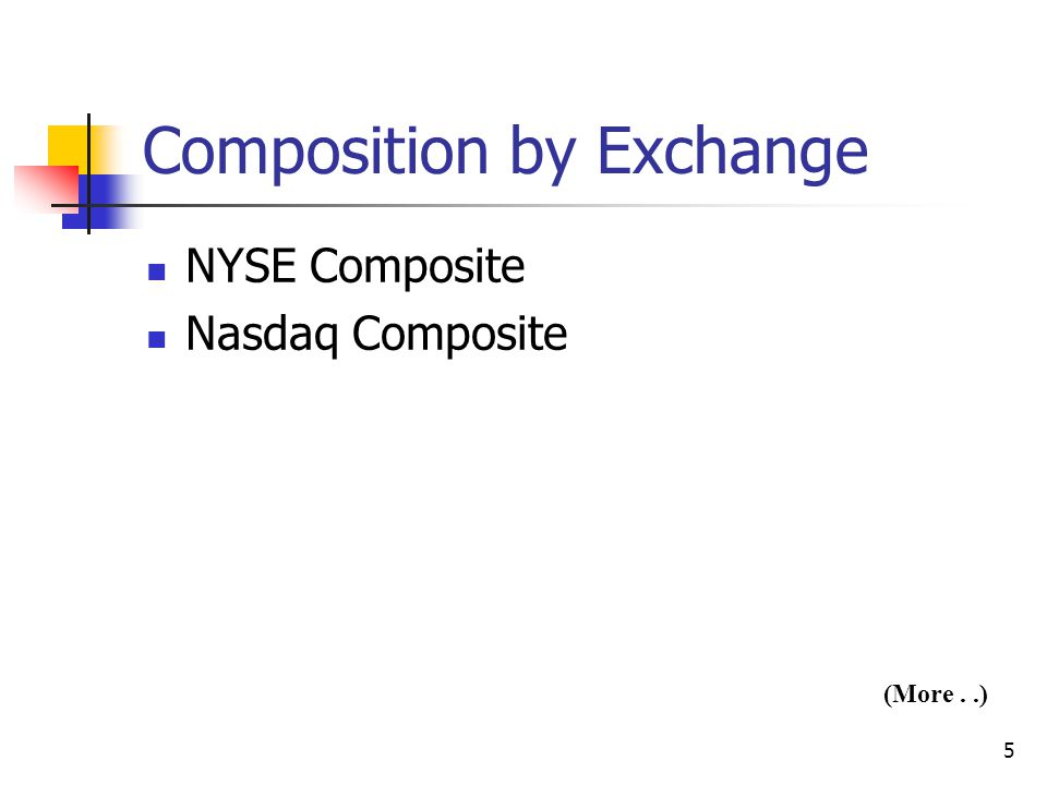 5 Composition by Exchange NYSE Composite Nasdaq Composite (More..)
