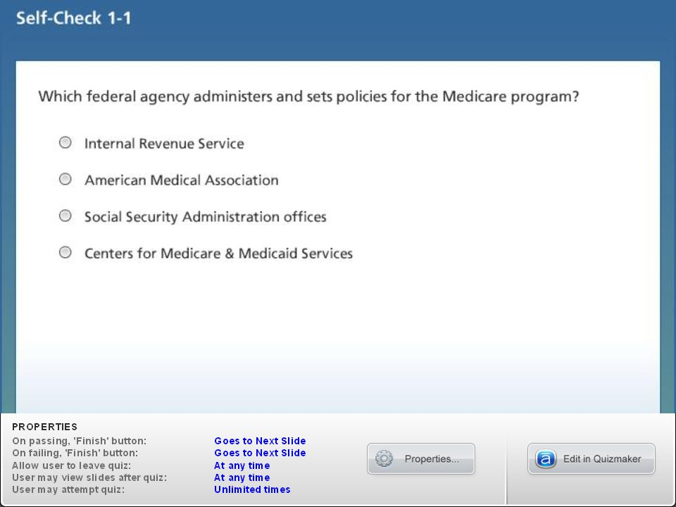 Medicare (Part A) Medicare generally consists of four parts: 1.