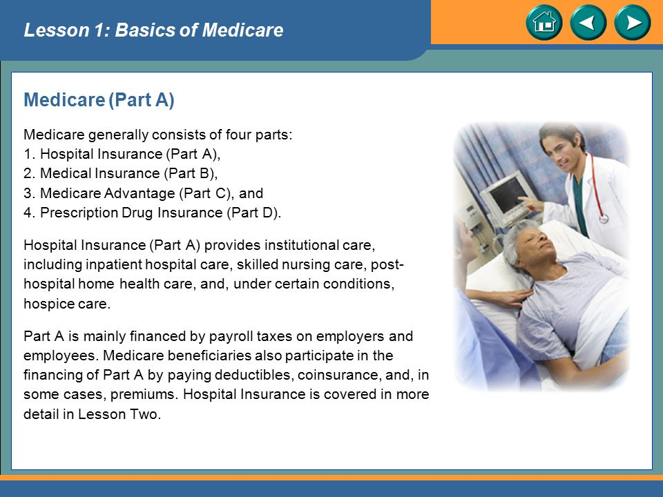 Benefits Under Part A Except for the deductible and coinsurance amounts that must be paid by the patient, Medicare helps pay for inpatient hospital service for up to 90 days in each benefit period. Medicare will also pay (except for a coinsurance amount) for 60 additional hospital days over each person's lifetime (applies to disabled beneficiaries at any age; others after age 65).