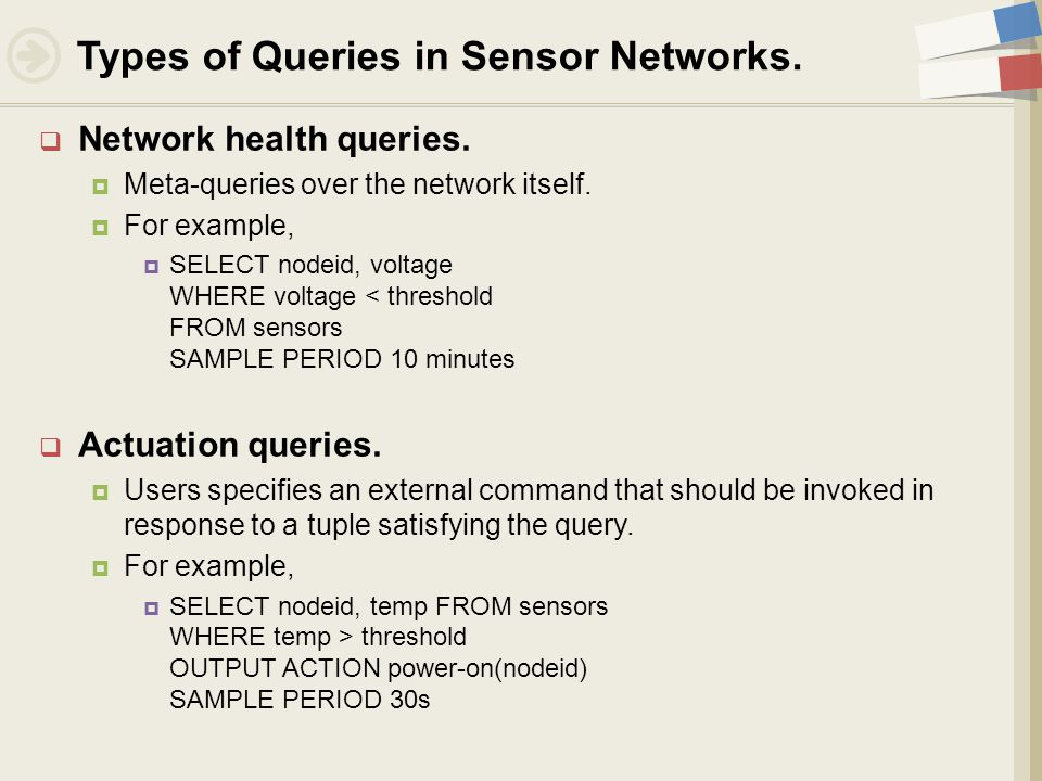  Network health queries.  Meta-queries over the network itself.