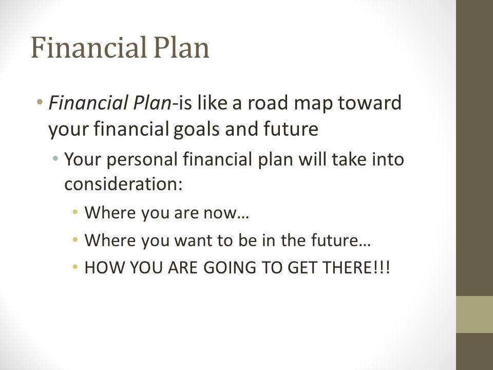 Financial Plan Continued… Short Term Goals- goals that are a year or less Examples Get a job Get a car Good Grades