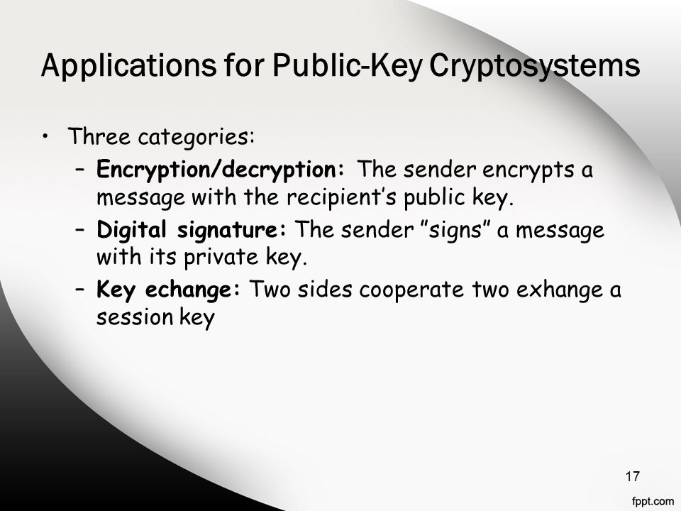 Applications for Public-Key Cryptosystems Three categories: –Encryption/decryption: The sender encrypts a message with the recipient's public key.