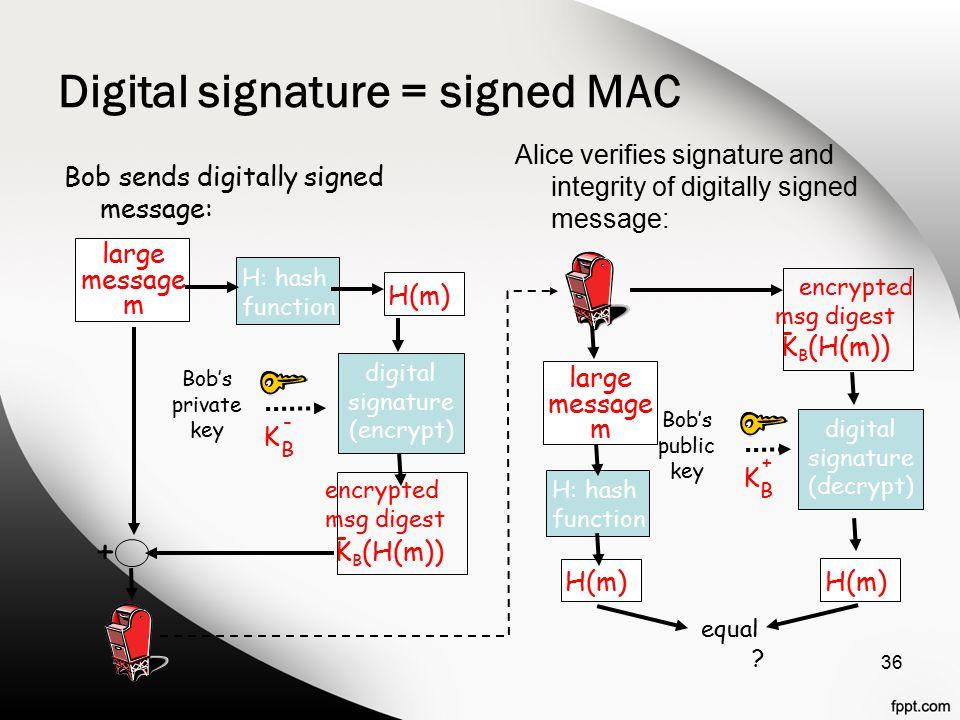 Digital signature = signed MAC 36 large message m H: hash function H(m) digital signature (encrypt) Bob's private key K B - + Bob sends digitally sign