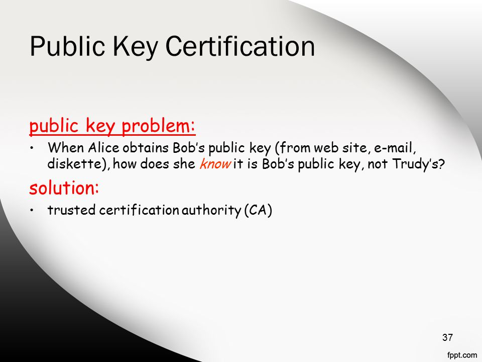 Public Key Certification public key problem: When Alice obtains Bob's public key (from web site,  , diskette), how does she know it is Bob's public key, not Trudy's.