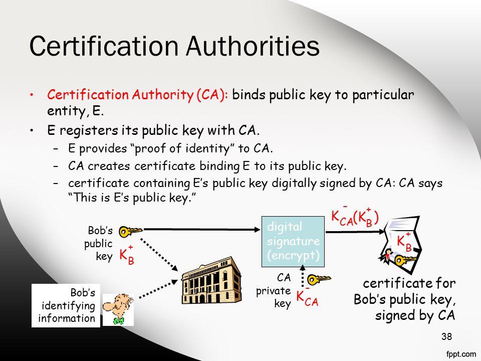 "Certification Authorities Certification Authority (CA): binds public key to particular entity, E. E registers its public key with CA. –E provides ""pro"