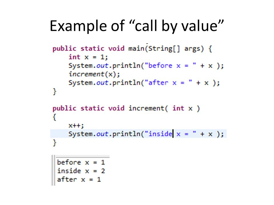 Example of call by value