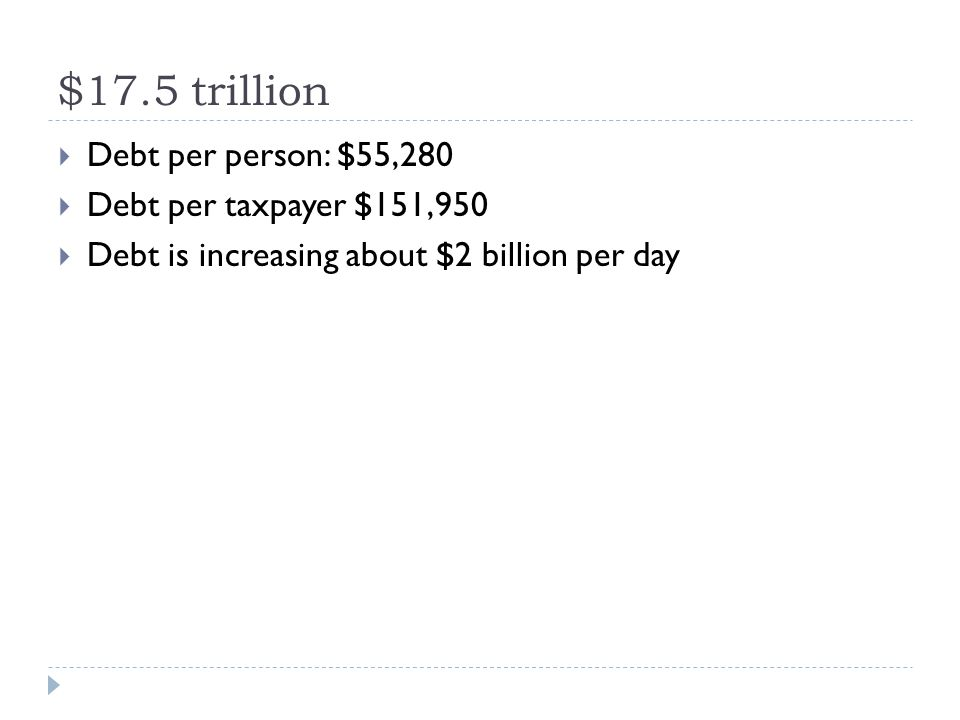  Debt per person: $55,280  Debt per taxpayer $151,950  Debt is increasing about $2 billion per day