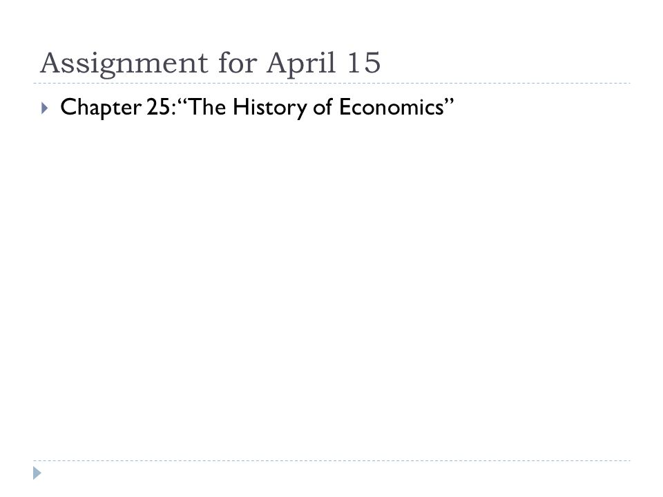 Assignment for April 15  Chapter 25: The History of Economics