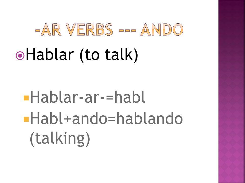  Hablar (to talk)  Hablar-ar-=habl  Habl+ando=hablando (talking)