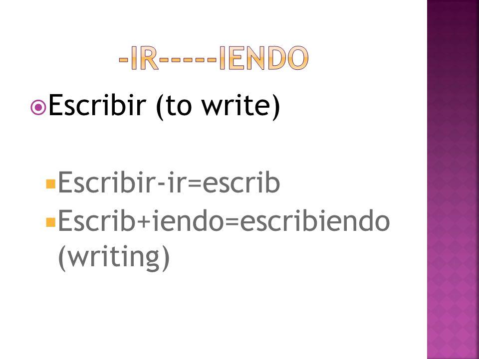  Escribir (to write)  Escribir-ir=escrib  Escrib+iendo=escribiendo (writing)