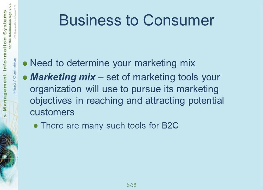 5-39 B2C Marketing Mix Tools Registering with search engines Online ads Viral marketing Affiliate programs