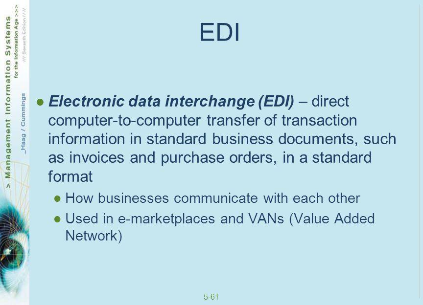 5-62 EDI and a VAN