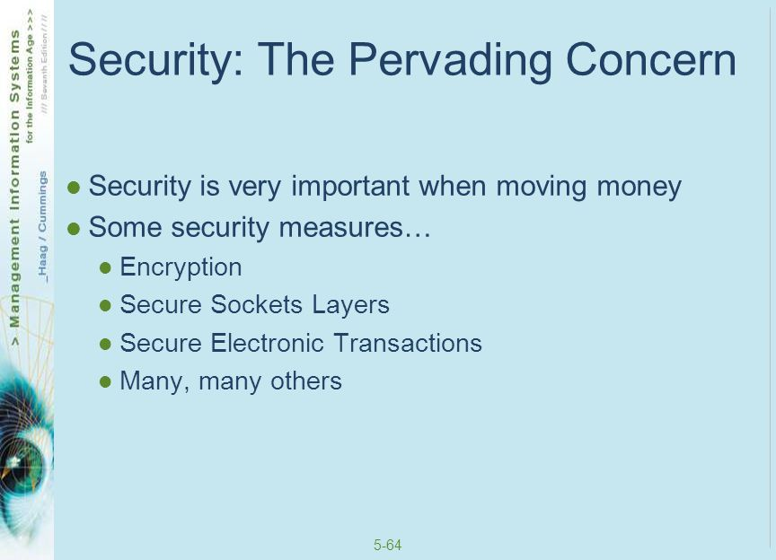5-65 Encryption Encryption – scrambles the contents of a file so that you can't read it without having the right decryption key Often through public key encryption (PKE) – uses two keys: a public key for everyone and private key for only the recipient of the encrypted information