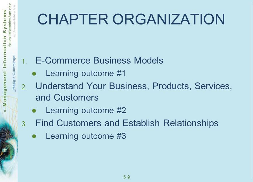 5-10 CHAPTER ORGANIZATION 4.Move Money Easily and Securely Learning outcome #4 5.