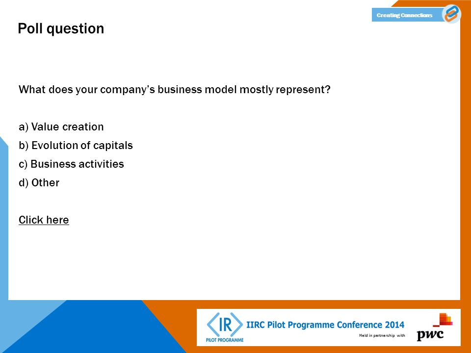 Held in partnership with Creating Connections Poll question What does your company's business model mostly represent.