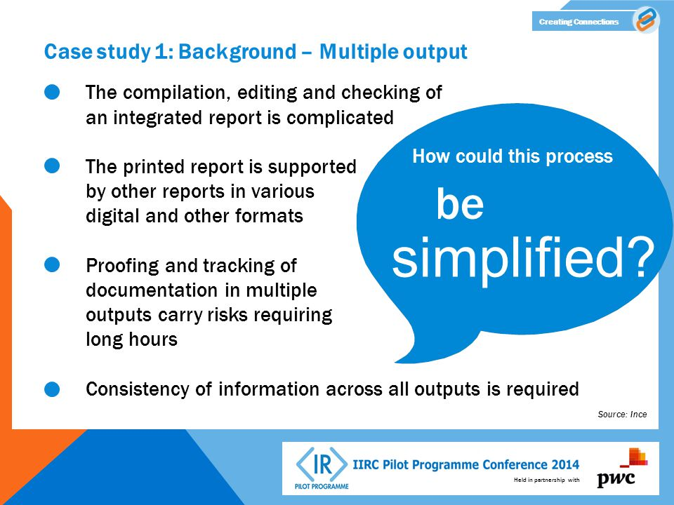 Held in partnership with Creating Connections Case study 1: Background – Multiple output The compilation, editing and checking of an integrated report