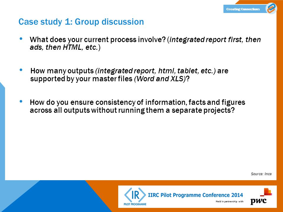 Held in partnership with Creating Connections Case study 1: Group discussion What does your current process involve? (integrated report first, then ad
