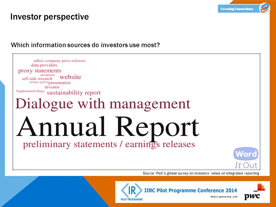 Held in partnership with Creating Connections Investor perspective Which information sources do investors use most? Source: PwC's global survey on inv