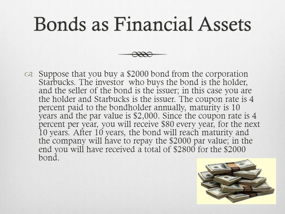 Bonds as Financial AssetsBonds as Financial Assets  If the interest rate changes, a bonds value changes.