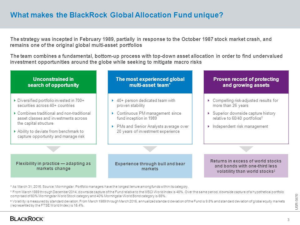 What makes the BlackRock Global Allocation Fund unique? The strategy was incepted in February 1989, partially in response to the October 1987 stock ma