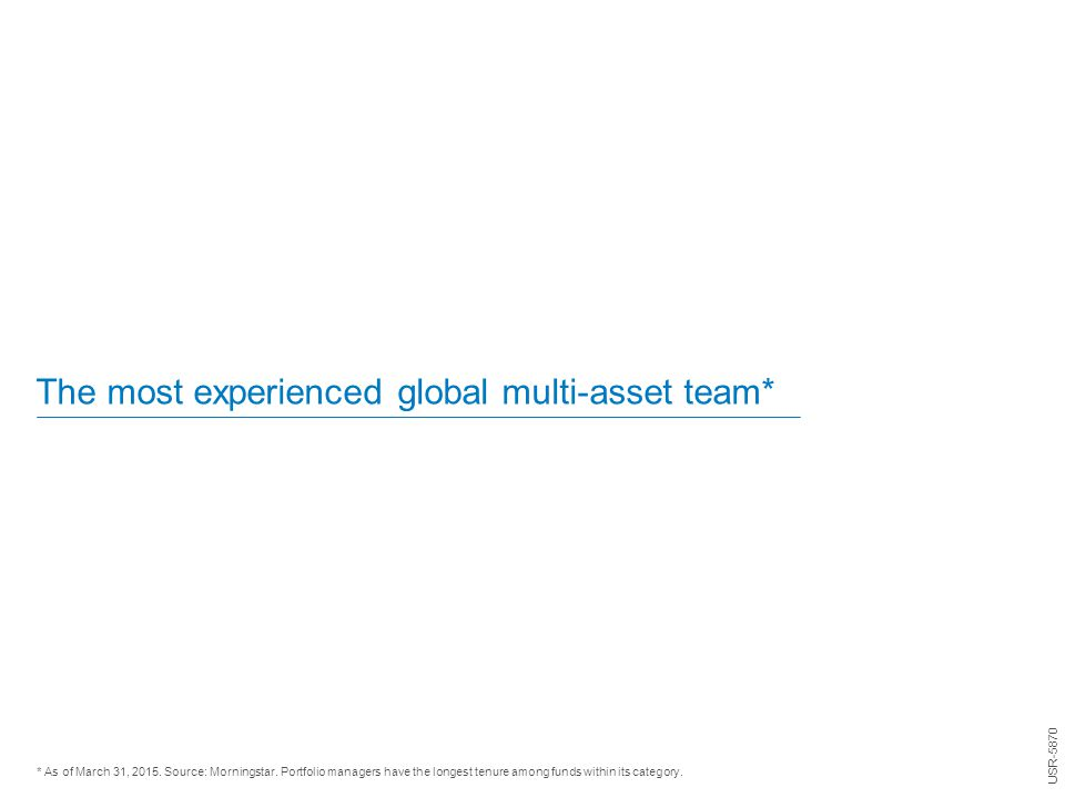 The most experienced global multi-asset team* * As of March 31, 2015. Source: Morningstar. Portfolio managers have the longest tenure among funds with