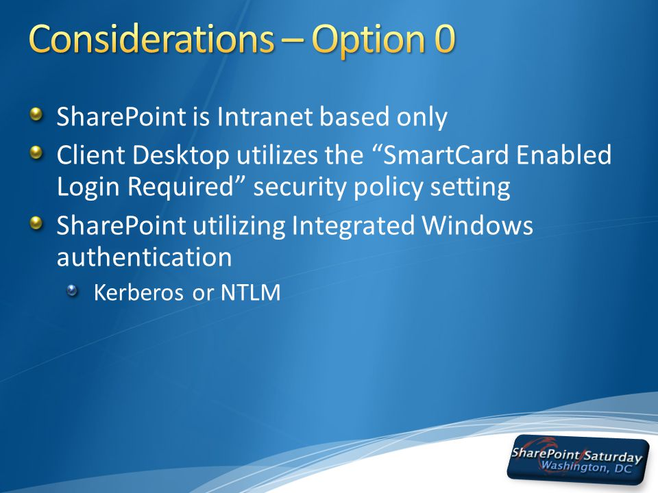 SharePoint is Intranet based only Client Desktop utilizes the SmartCard Enabled Login Required security policy setting SharePoint utilizing Integrated Windows authentication Kerberos or NTLM