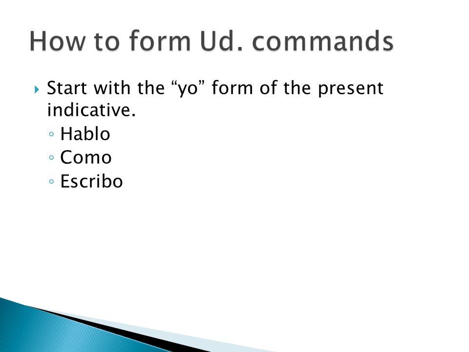  Start with the yo form of the present indicative. ◦ Hablo ◦ Como ◦ Escribo