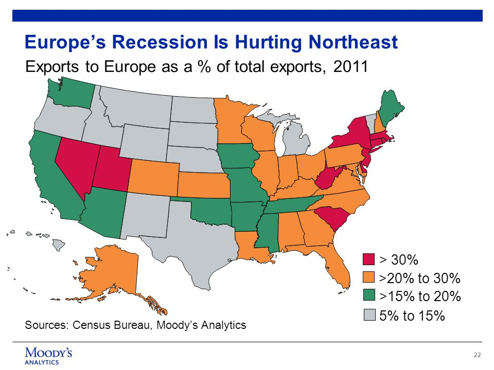 22 Europe's Recession Is Hurting Northeast Exports to Europe as a % of total exports, 2011 Sources: Census Bureau, Moody's Analytics >15% to 20% > 30% 5% to 15% >20% to 30%