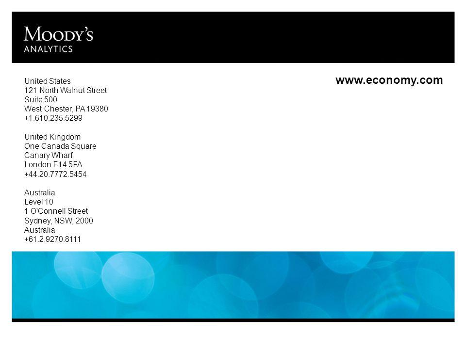 www.economy.com United States 121 North Walnut Street Suite 500 West Chester, PA 19380 +1.610.235.5299 United Kingdom One Canada Square Canary Wharf London E14 5FA +44.20.7772.5454 Australia Level 10 1 O Connell Street Sydney, NSW, 2000 Australia +61.2.9270.8111
