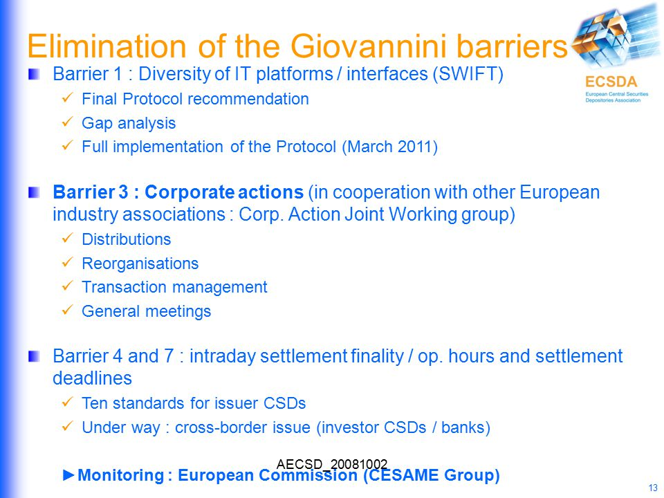 AECSD_20081002 13 Elimination of the Giovannini barriers Barrier 1 : Diversity of IT platforms / interfaces (SWIFT) Final Protocol recommendation Gap