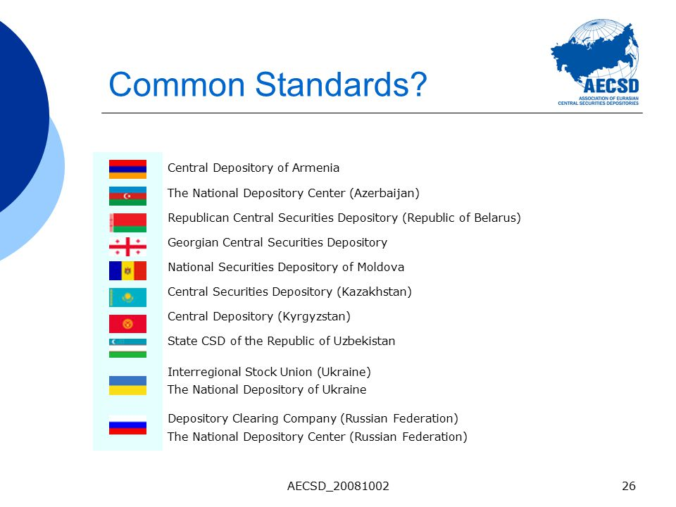 AECSD_2008100226 Common Standards? Central Depository of Armenia The National Depository Center (Azerbaijan) Republican Central Securities Depository
