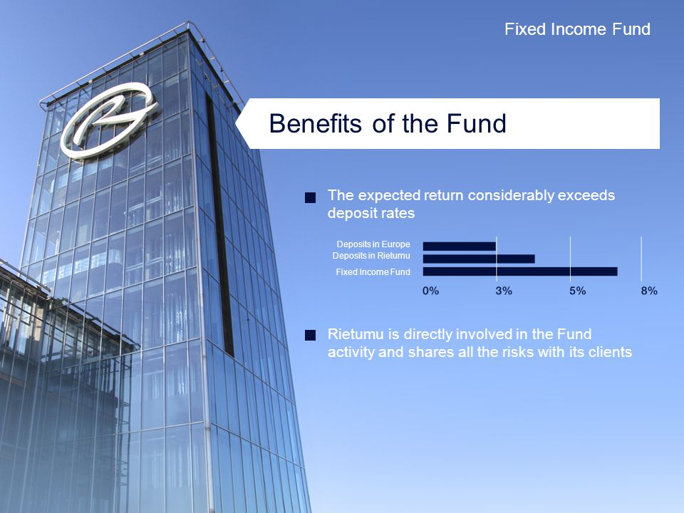 Benefits of the Fund The expected return considerably exceeds deposit rates Rietumu is directly involved in the Fund activity and shares all the risks with its clients Deposits in Europe Deposits in Rietumu Fixed Income Fund