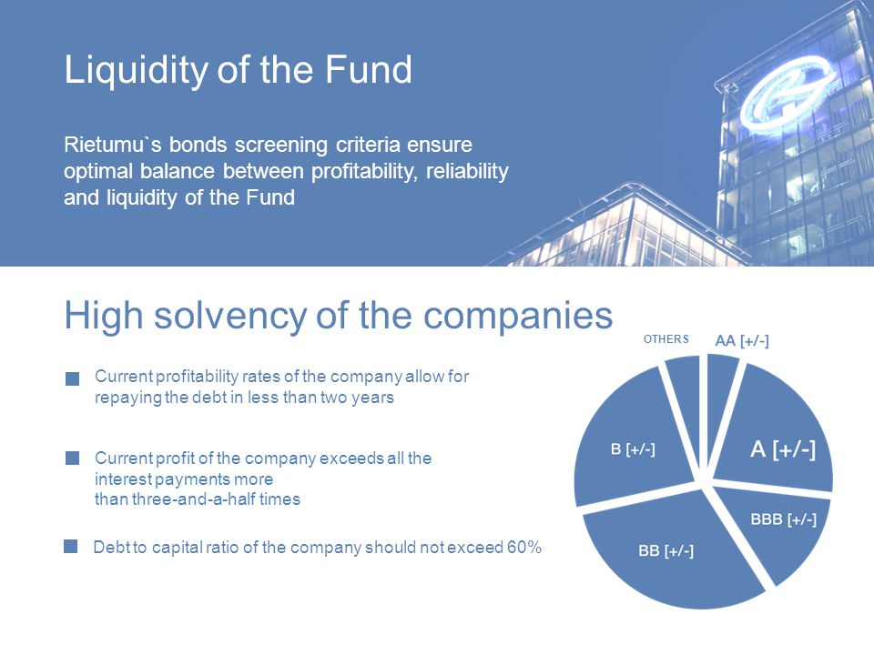 Liquidity of the Fund Rietumu`s bonds screening criteria ensure optimal balance between profitability, reliability and liquidity of the Fund Current profitability rates of the company allow for repaying the debt in less than two years Debt to capital ratio of the company should not exceed 60% High solvency of the companies Current profit of the company exceeds all the interest payments more than three-and-a-half times OTHERS