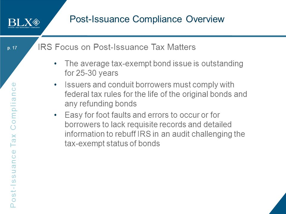 p. Post-Issuance Tax Compliance p.