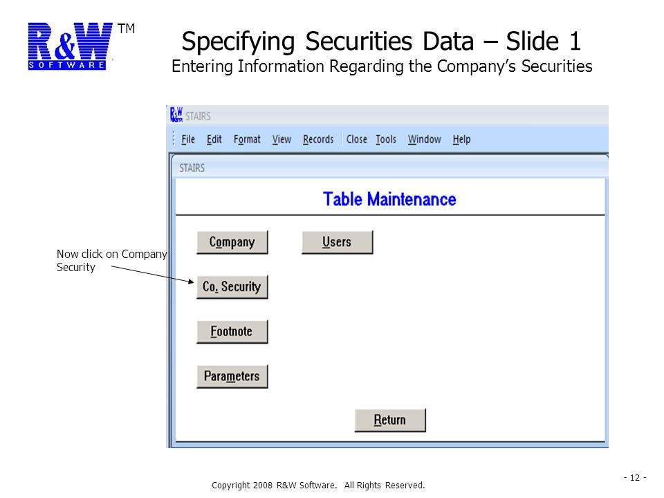 TM Copyright 2008 R&W Software. All Rights Reserved. - 12 - Specifying Securities Data – Slide 1 Entering Information Regarding the Company's Securiti