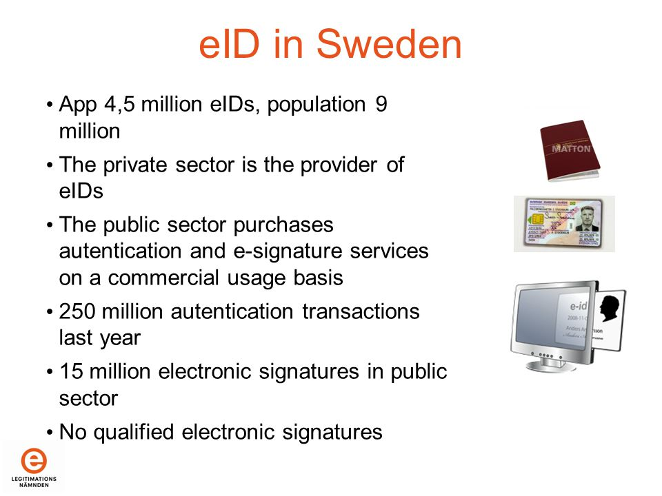 Municipal X Tax Authority public agency Sellers of validation control for BankID (two banks) Company X Pharmacy Banks Skandia nken Swed- bank SHB SEB Danske Bank The concept BankID is used by nine banks Telia Nordea Public sector Private sector e-services Intermediaries Telia in the role as seller of validation control Nordea in the role as seller of validation control The situation today in Sweden