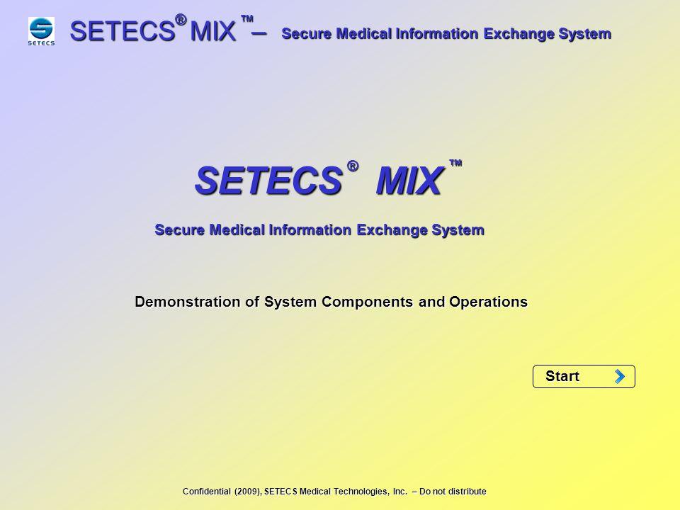 SETECS MIX – ® ™ Start: Click on SETECS icon on the desktop to start SETECS Security Management System (CLICK) Secure Medical Information Exchange System Login panel shows up.