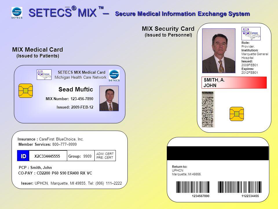 SETECS MIX – ® ™ Secure Medical Information Exchange System ® ™ SETECS MIX Secure Medical Information Exchange System End of Demonstration Confidential (2009), SETECS Medical Technologies, Inc.