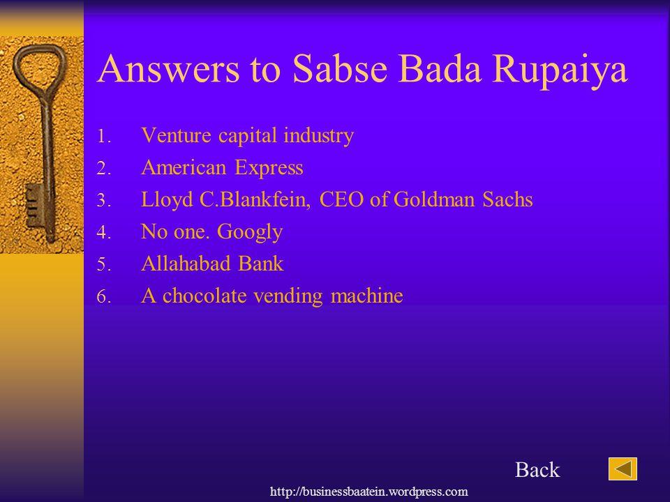 http://businessbaatein.wordpress.com Answers to Sabse Bada Rupaiya 1.