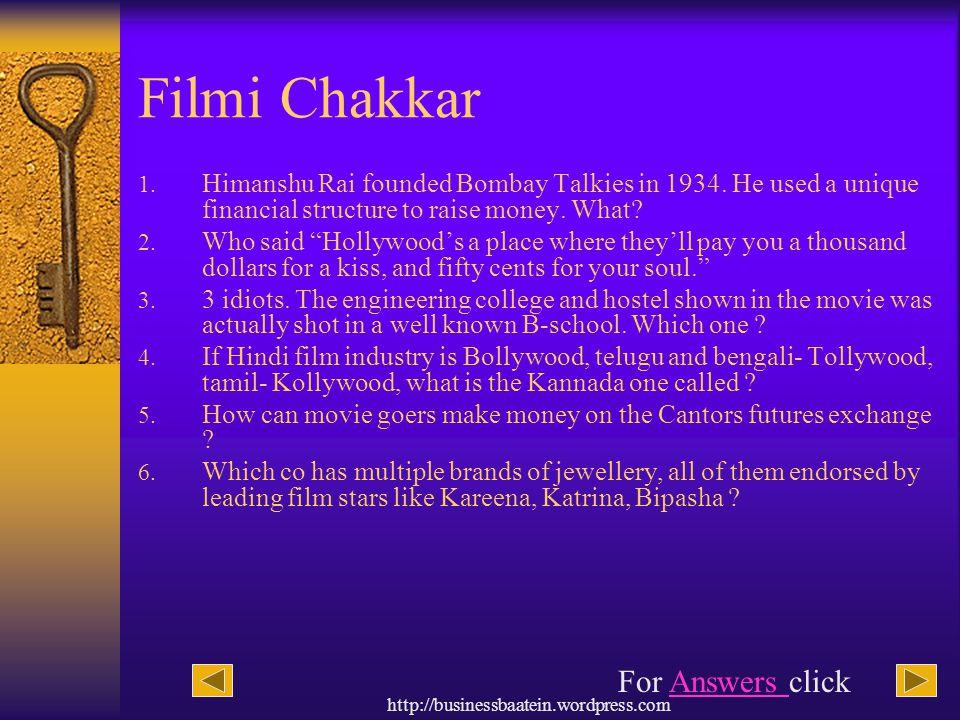 http://businessbaatein.wordpress.com Filmi Chakkar 1. Himanshu Rai founded Bombay Talkies in 1934. He used a unique financial structure to raise money