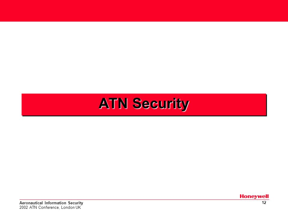 Aeronautical Information Security 2002 ATN Conference, London UK 12 ATN Security