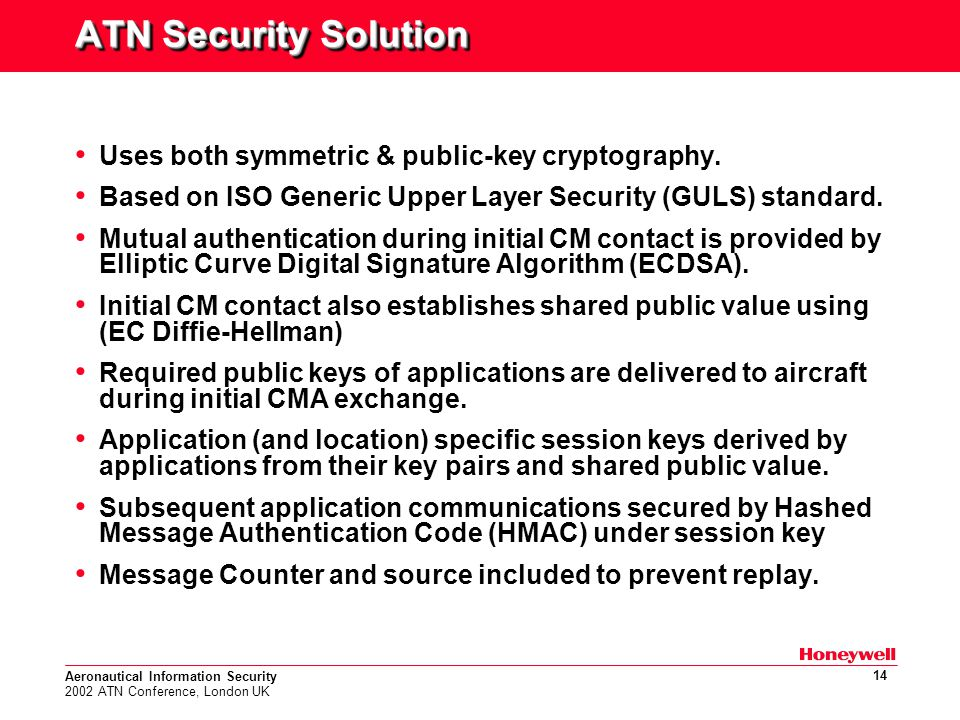 Aeronautical Information Security 2002 ATN Conference, London UK 14 ATN Security Solution Uses both symmetric & public-key cryptography.