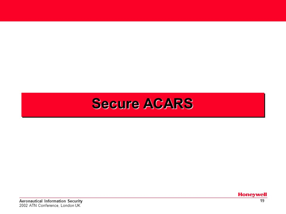 Aeronautical Information Security 2002 ATN Conference, London UK 19 Secure ACARS
