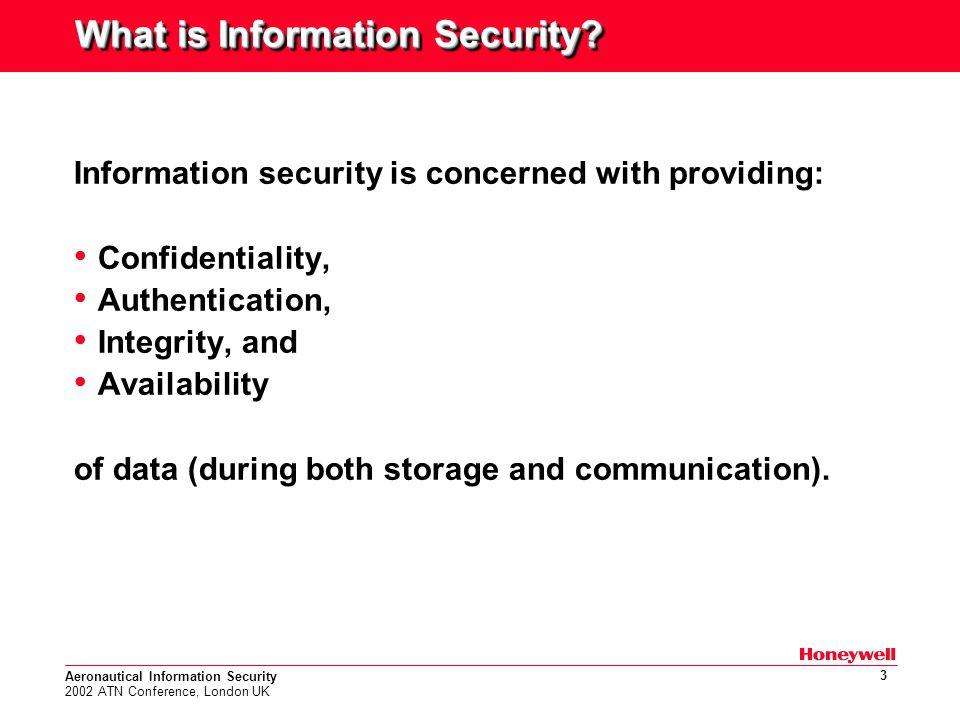 Aeronautical Information Security 2002 ATN Conference, London UK 14 ATN Security Solution Uses both symmetric & public-key cryptography.