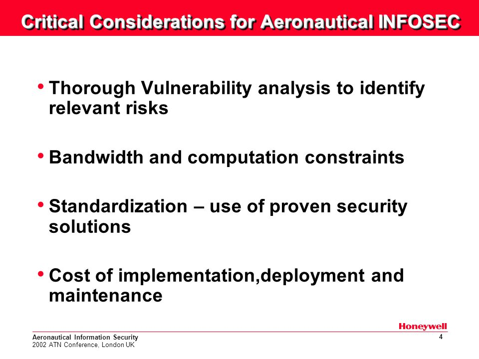 Aeronautical Information Security 2002 ATN Conference, London UK 5 Vulnerability and Risk Analysis PrivacyAuthentication Integrity Monitoring Spoofing Modification Data Corruption Virus Viruses