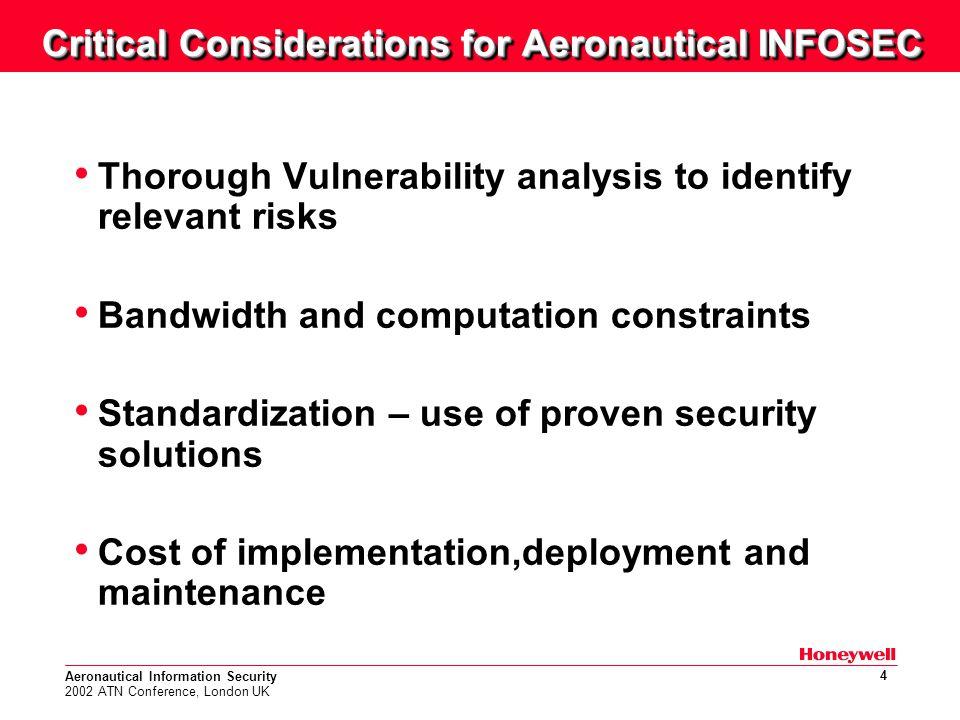 Aeronautical Information Security 2002 ATN Conference, London UK 15 Secure Session Establishment Process