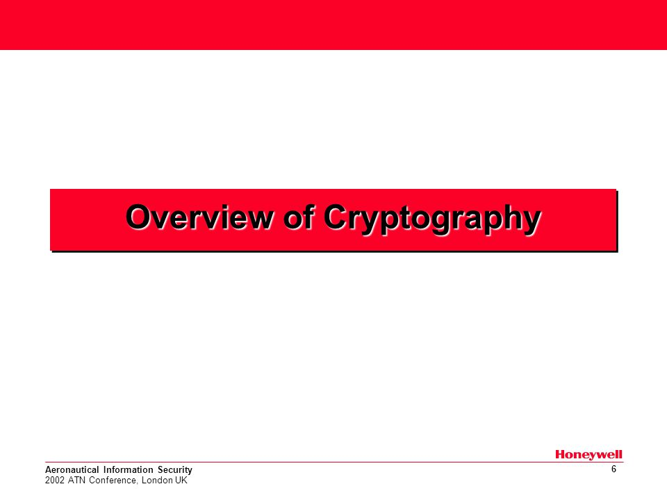 Aeronautical Information Security 2002 ATN Conference, London UK 6 Overview of Cryptography