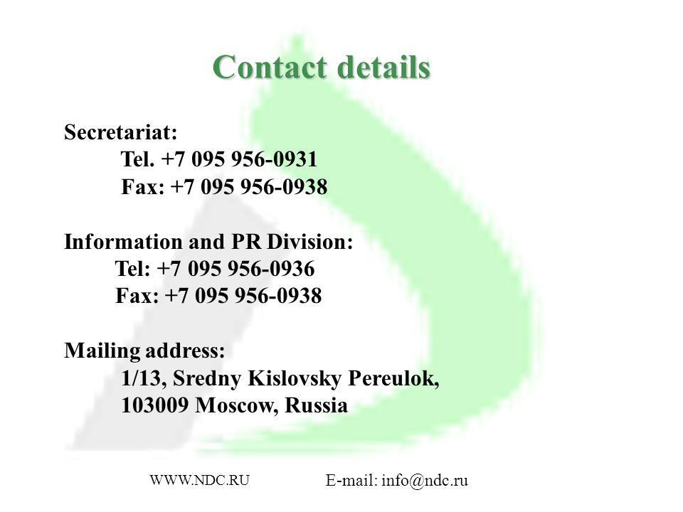 Contact details Secretariat: Tel.