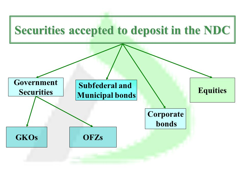 Government Securities Securities accepted to deposit in the NDC GKOs Subfederal and Municipal bonds OFZs Corporate bonds Equities